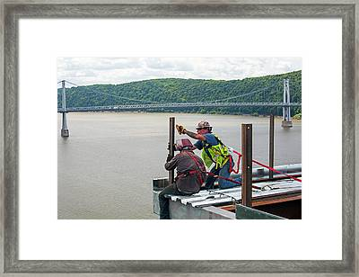 Bridge Lift Construction Workers Framed Print by Jim West
