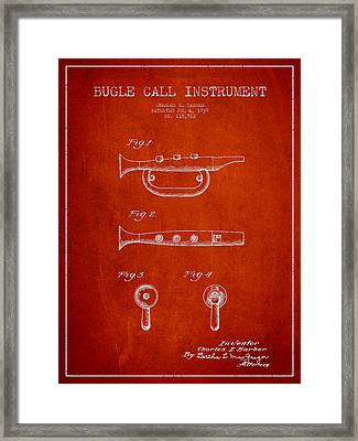 Bugle Call Instrument Patent Drawing From 1939 - Red Framed Print by Aged Pixel