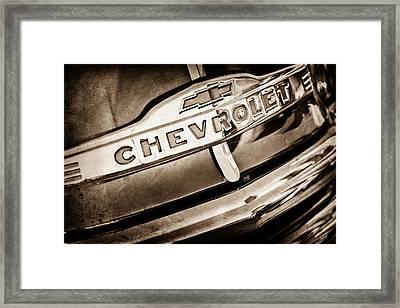 Chevrolet Pickup Truck Grille Emblem Framed Print by Jill Reger
