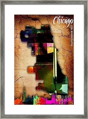 Chicago Map And Skyline Watercolor Framed Print by Marvin Blaine