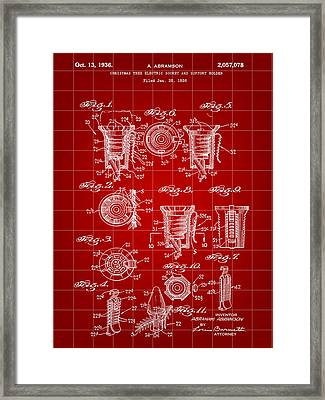 Christmas Bulb Socket Patent 1936 - Red Framed Print by Stephen Younts