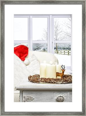 Christmas Candles Framed Print by Amanda Elwell