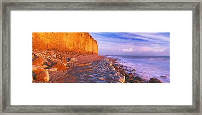 Cliff On The Beach, Burton Bradstock Framed Print by Panoramic Images