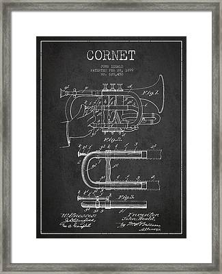 Cornet Patent Drawing From 1899 - Dark Framed Print by Aged Pixel