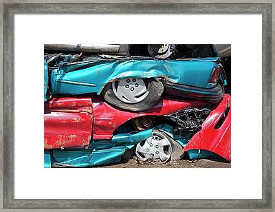 Crushed Cars At Scrapyard Framed Print by Jim West