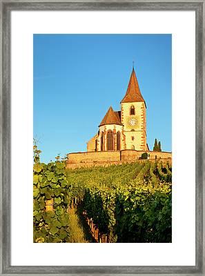 Dawn At The 15th Century Church Of St Framed Print by Brian Jannsen