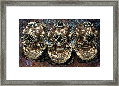 3 Deep-diving Helmets Framed Print by Daniel Hagerman