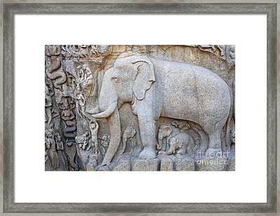 Elephant Sculpture At Mamallapuram  Framed Print by Robert Preston