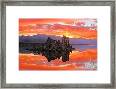 Fiery Mono Lake Sunset Framed Print by Adam Jewell