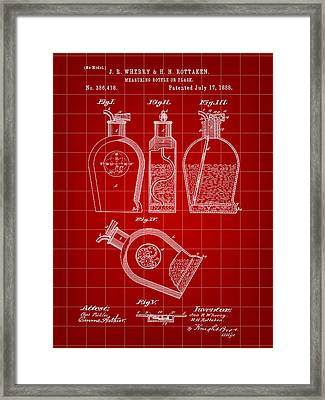 Flask Patent 1888 - Red Framed Print by Stephen Younts