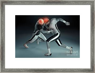 Football Collision Framed Print by Science Picture Co