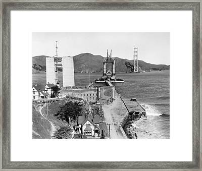 Gg Bridge Under Construction Framed Print by Underwood Archives