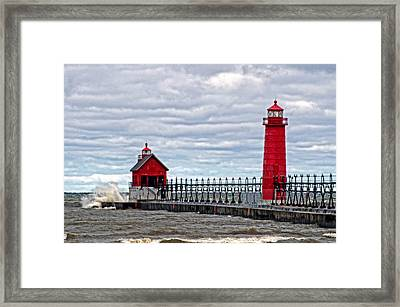 Grand Haven Lighthouse Framed Print by Cheryl Cencich