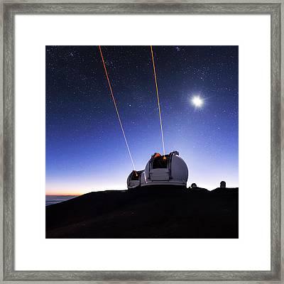 Guide Lasers Over Mauna Kea Observatories Framed Print by Babak Tafreshi