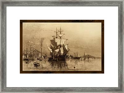 Historic Seaport Schooner Framed Print by John Stephens