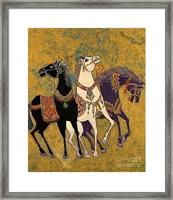 3 Horses Framed Print by Laila Shawa