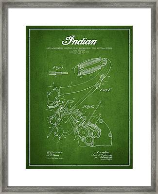 Indian Motorcycle Patent From 1904 - Green Framed Print by Aged Pixel