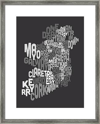 Ireland Eire County Text Map Framed Print by Michael Tompsett
