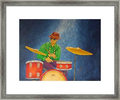 Jazz Drummer Framed Print by Pamela Allegretto