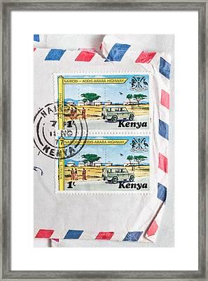 Kenya Stamp Framed Print by Tom Gowanlock