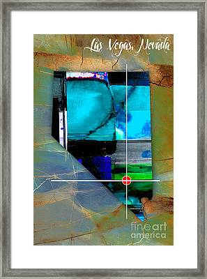 Las Vegas Nevada Map Watercolor Framed Print by Marvin Blaine