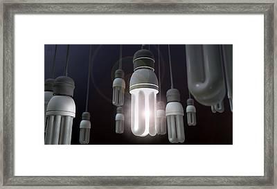 Leadership Hanging Lightbulb Framed Print by Allan Swart