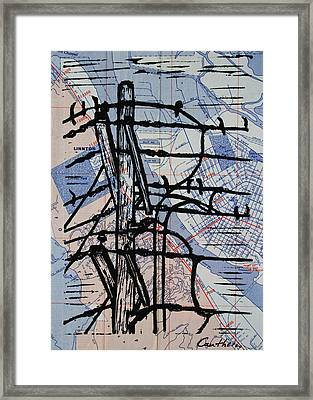 Lines And Birds Framed Print by William Cauthern