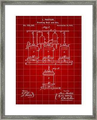 Louis Pasteur Beer Brewing Patent 1873 - Red Framed Print by Stephen Younts