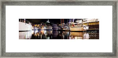 Marseille France Panorama At Night Framed Print by Michal Bednarek