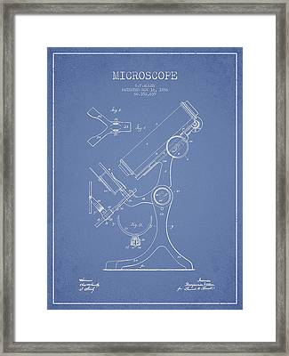 Microscope Patent Drawing From 1886 - Light Blue Framed Print by Aged Pixel