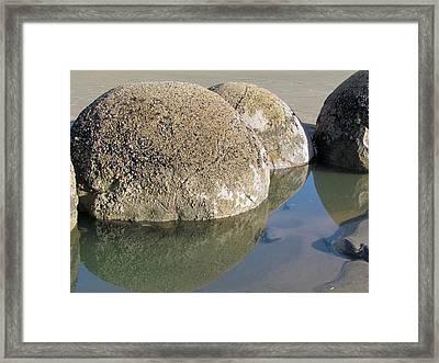 Moeraki Boulders Framed Print by Joyce Woodhouse