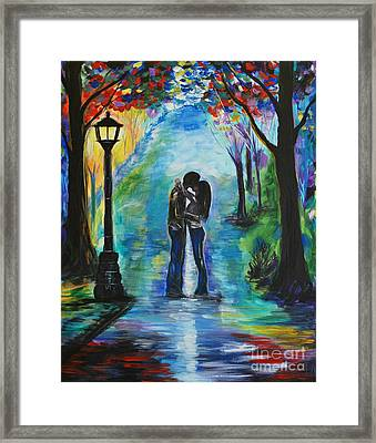 Moonlight Kiss Framed Print by Leslie Allen