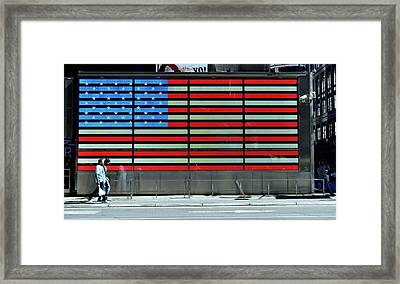 Neon American Flag Framed Print by Allen Beatty