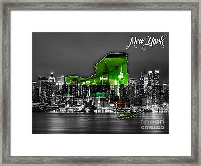 New York Map And Skyline Watercolor Framed Print by Marvin Blaine