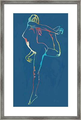 Nude Dancing Pop Stylised Art Poster Framed Print by Kim Wang