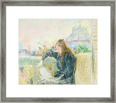 On The Balcony Framed Print by Berthe Morisot