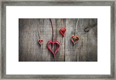 Paper Heart Decoration Framed Print by Aged Pixel