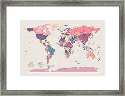 Political Map Of The World Framed Print by Michael Tompsett