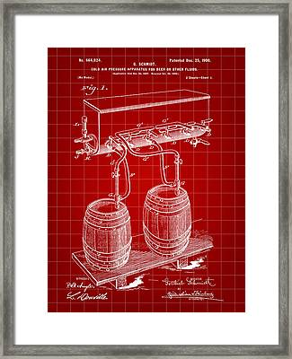 Pressure Apparatus For Beer Patent 1897 - Red Framed Print by Stephen Younts