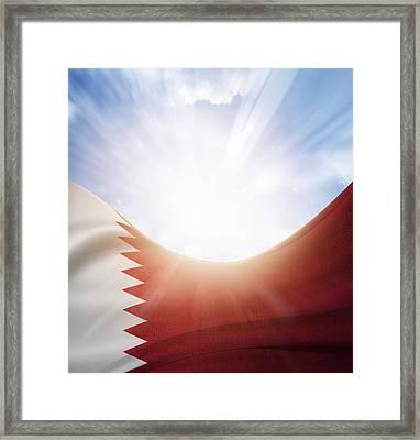 Qatar Flag Framed Print by Les Cunliffe