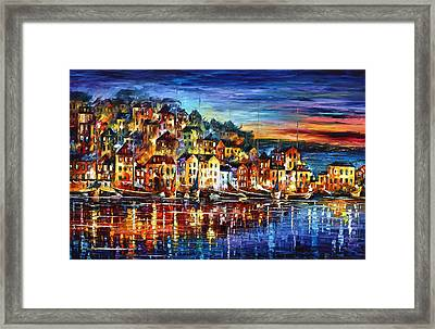 Quiet Town Framed Print by Leonid Afremov