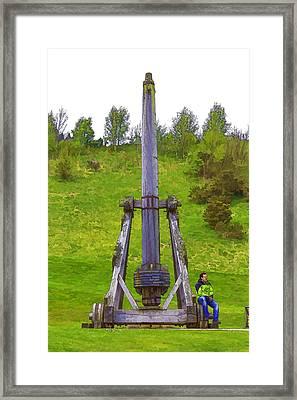 Replica Of Wooden Trebuchet At Urquhart Castle Framed Print by Ashish Agarwal