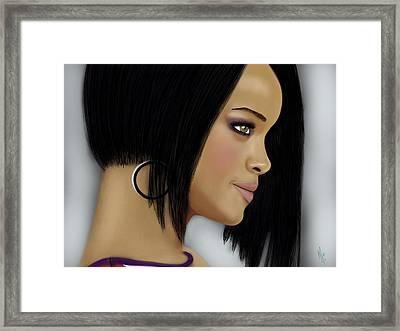Rihanna  Framed Print by Mathieu Lalonde