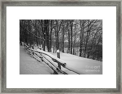 Rural Winter Scene With Fence Framed Print by Elena Elisseeva