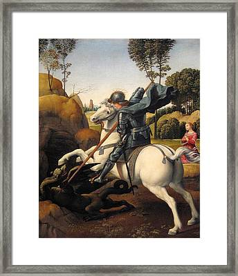 Saint George And The Dragon Framed Print by Raphael