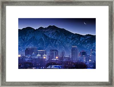 Salt Lake City Utah Skyline Framed Print by Utah Images