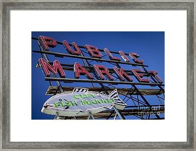 Seattle Market Sign Framed Print by Brian Jannsen