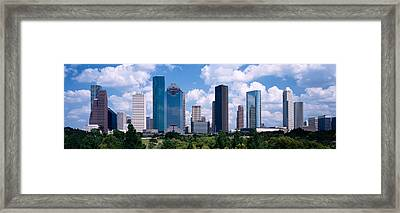 Skyscrapers In A City, Houston, Texas Framed Print by Panoramic Images