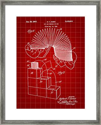 Slinky Patent 1946 - Red Framed Print by Stephen Younts