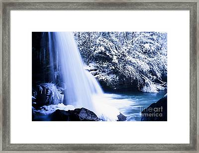 Snow And Waterfall Framed Print by Thomas R Fletcher